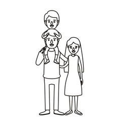 Silhouette caricature family mother and father vector