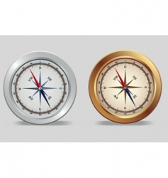 Silver and bronze compasses vector