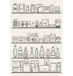 Store shelves with goods vector