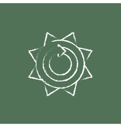 Sun with round arrow icon drawn in chalk vector image vector image