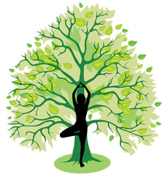 Tree yoga pose vector image