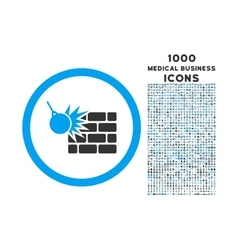 Wall Destruction Rounded Icon with 1000 Bonus vector image vector image