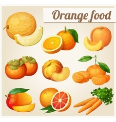 Set of cartoon food icons orange food melon vector