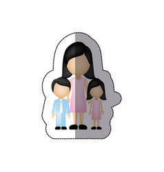 Color woman her children icon vector