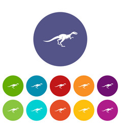 Theropod dinosaur icons set flat vector