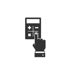 Hand considers on the calculator vector
