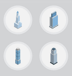 Isometric building set of cityscape apartment vector