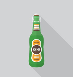 Flat style beer bottle icon with shadow vector