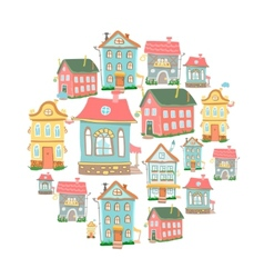 Set of hand-drawn cute cartoon houses vector
