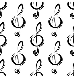 Black treble clefs seamless pattern vector