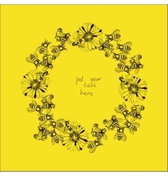 Wreath with bees and flowers vector