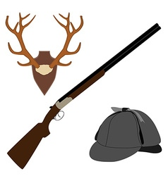 Deer horns rifle and hat vector