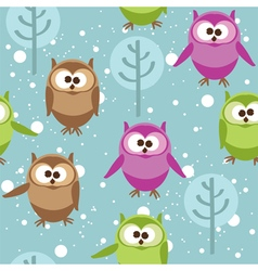 Seamless pattern with cute cartoon owls vector