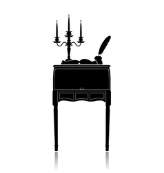Vintage secretaire with a candelabrum inkwell and vector