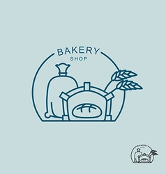 Bakery shop logo sack of flour and the stove fresh vector