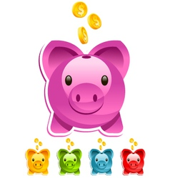 Shiny piggy bank vector