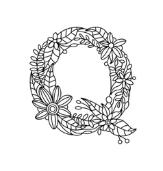 Letter Q coloring book for adults vector image
