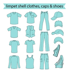 Menswear headgear shoes limpet shell color vector