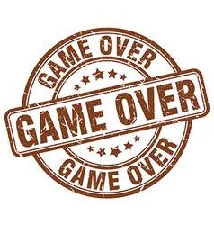 Game over brown grunge round vintage rubber stamp vector
