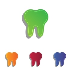 Tooth sign  colorfull applique icons vector