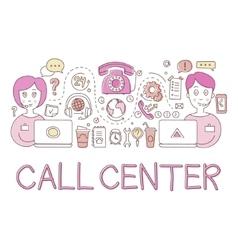 Call center work elements creative sketch vector