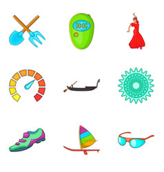 Adrenalin icons set cartoon style vector