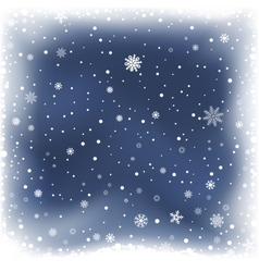 blue night snow background vector image