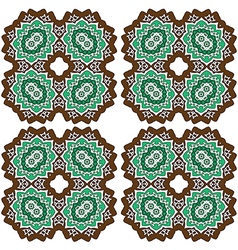 Brown green abstract lace flowers on the white vector