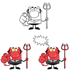 Devil Boss With A Trident And Hand Pointing Finger vector image