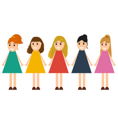 Funny girls in dresses on a white background vector