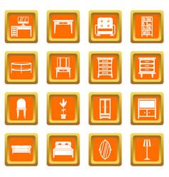 furniture icons set orange vector image vector image