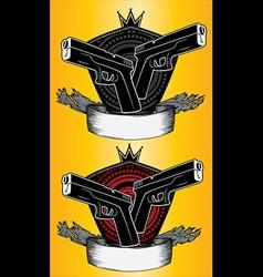Glock pistol weapon military design stamps vector