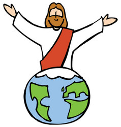 jesus and the world vector image vector image