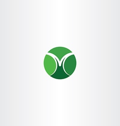 Letter m green icon circle sign logo logotype vector
