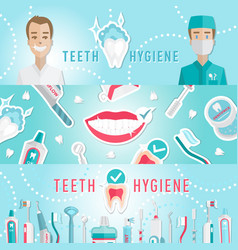 Medical teeth hygiene infographic web banner vector