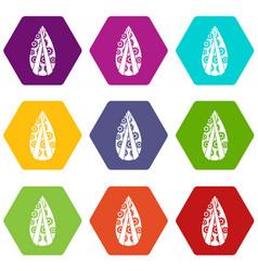Memorial wreath icon set color hexahedron vector