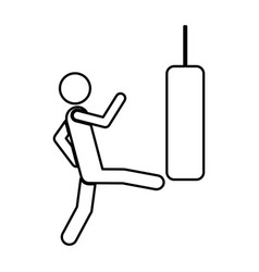 Person kicking a punching bag vector