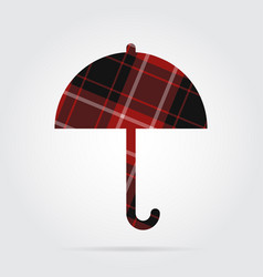 red black tartan isolated icon - umbrella vector image vector image