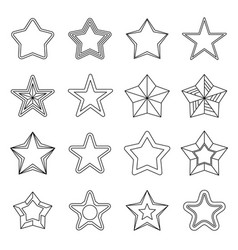 Set flat black line star icons vector