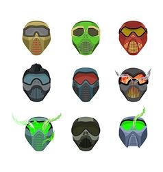 Set helmets and masks for sports devilish horrible vector