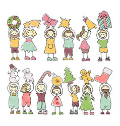Set of colored icons of happy children vector