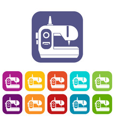 sewing machine icons set vector image