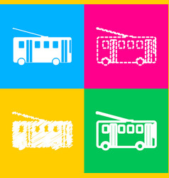 Trolleybus sign four styles of icon on four color vector