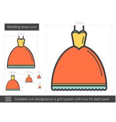 Wedding dress line icon vector