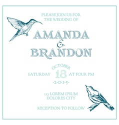 Wedding Vintage Invitation Card - Bird Theme vector image vector image