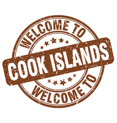 Welcome to cook islands brown round vintage stamp vector