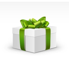 White Gift Box with Light Green Ribbon Isolated vector image vector image