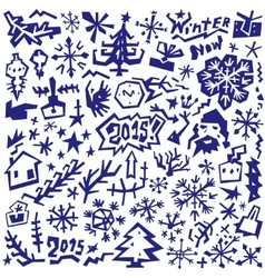winter Christmas symbols - doodles set vector image vector image