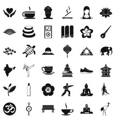 Yoga mat icons set simple style vector