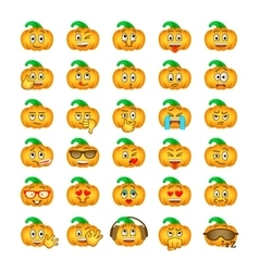 Halloween pumpkin emoji emoticons vector